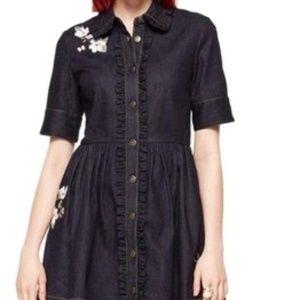 NWOT Kate Spade Blue Embroidered Denim Shirt Dress
